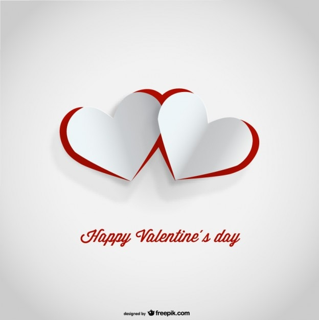 cutout paper hearts valentines day card design free vector