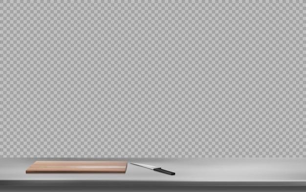 鋼のテーブル表面にまな板とナイフ 無料ベクター