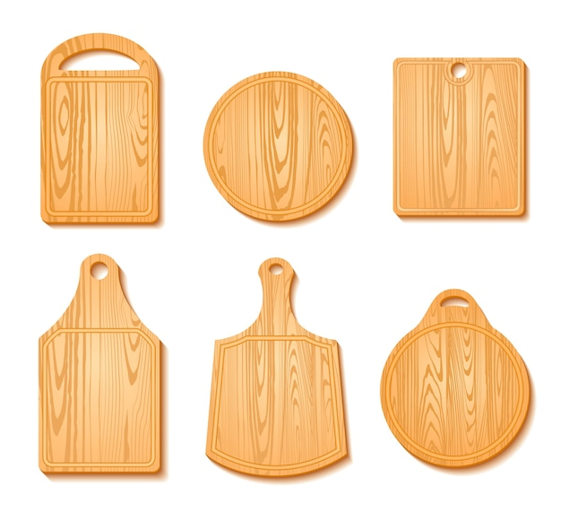 Cutting board icon set Free Vector
