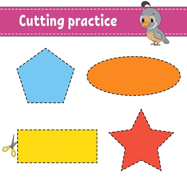 Cutting practice for kids. Premium Vector