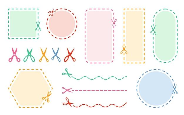 Ножницы для резки цветной набор пунктирная граница купона символ скидки обрезанный край. круг, квадрат, форма прямоугольника Premium векторы