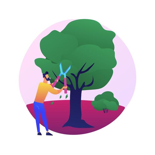 木や低木を切る抽象的な概念図。ガーデニングサービス、景観維持、剪定、病気の枝、枯れた枝、壊れた枝の除去、樹木の形成。 無料ベクター