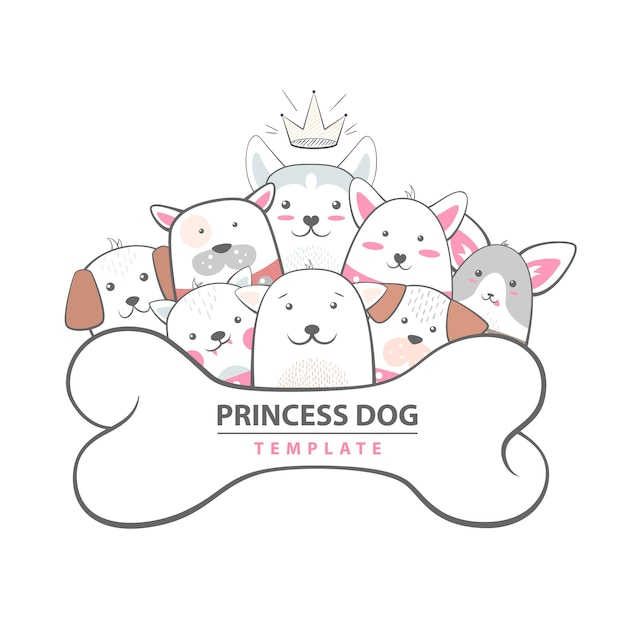 Cutu、面白い犬 - 動物のイラスト。 Premiumベクター