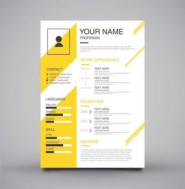Cv Curriculum Vitae Template Yellow Vector Premium Download