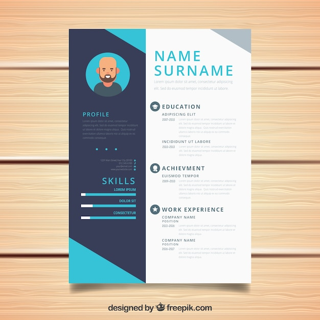 cv design in blue tones vector