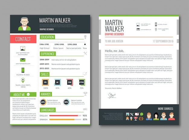 Cv layout template Free Vector