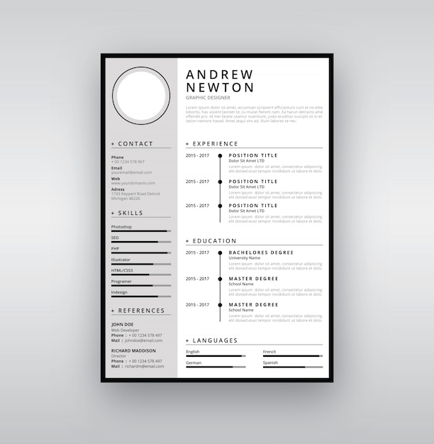 cv resume clean design template with timeline vector