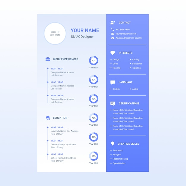 cv resume design template with icon included