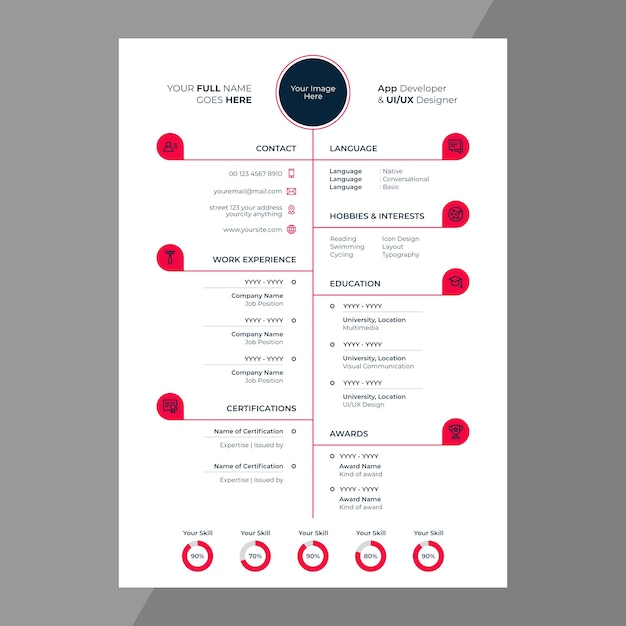 cv    resume design with line icons vector