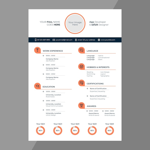 cv    resume design with line icons
