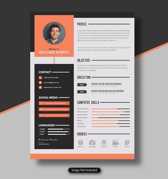 Cv or resume template | Premium Vector