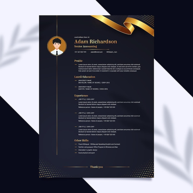 Cv template for investment Premium Vector