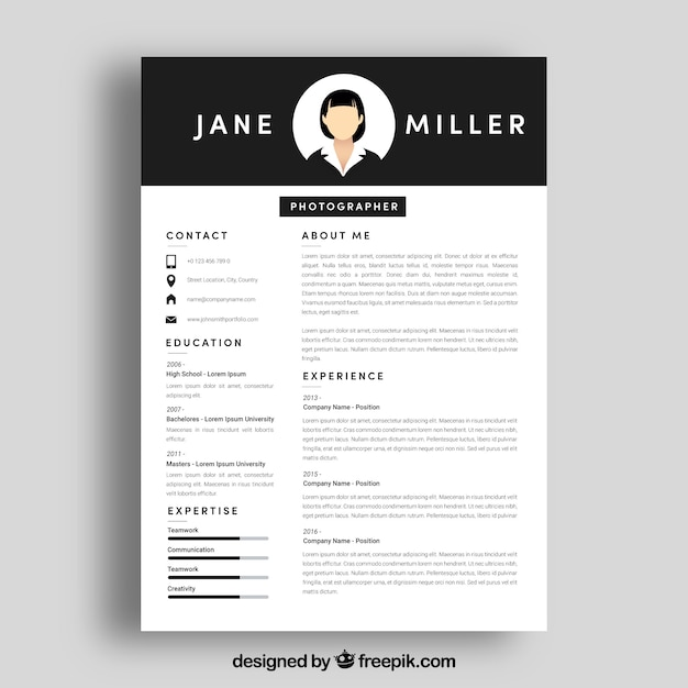 Cv template with top in black Free Vector