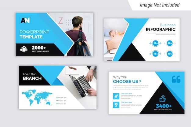 Cyan and black color corporate business presentation slides design Premium Vector