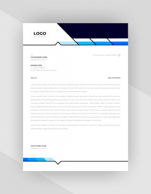 Cyan & blue color creative letterhead template design. Free Vector