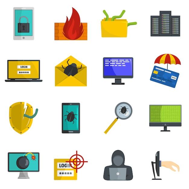 Набор иконок компьютерный вирус кибер-атаки вектор изолированных Premium векторы