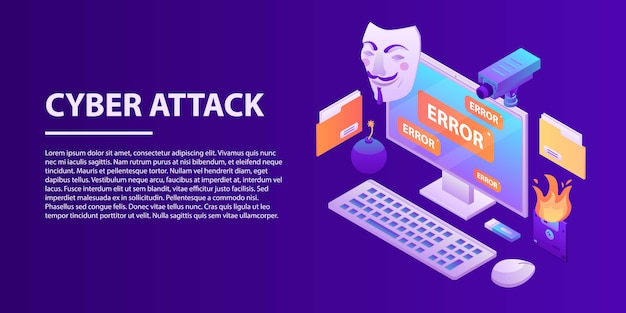 Cyber attack concept banner, isometric style Premium Vector