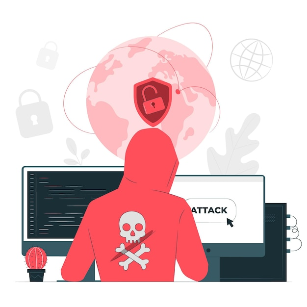 Cyber attack concept illustration Free Vector