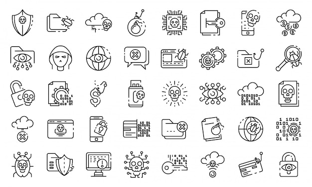 Cyber attack icons set, outline style Premium Vector