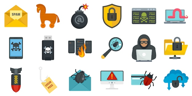 Cyber attack icons set Premium Vector