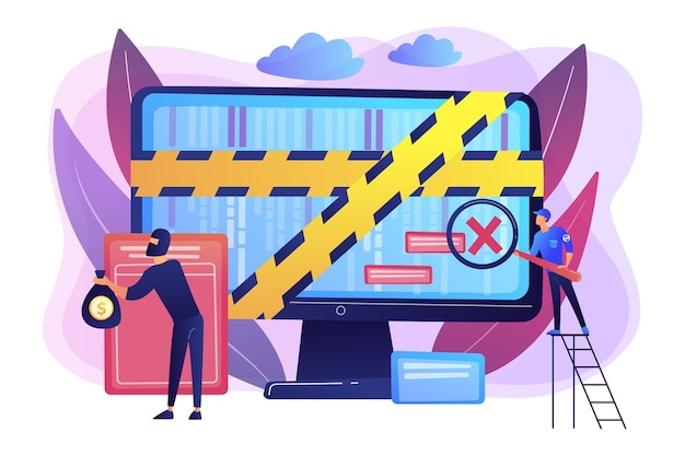 サイバー攻撃。法執行機関。オンラインでお金を盗む犯罪者。コンピュータフォレンジック、デジタルフォレンジックサイエンス、コンピュータ犯罪調査の概念。 無料ベクター