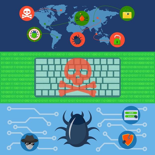 Кибер-атаки мир баннер концепции набора. Premium векторы