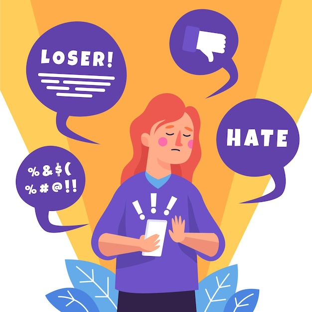 Cyber bullying concept illustration Free Vector