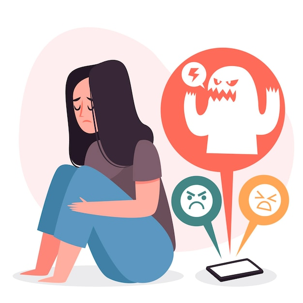 Cyber bullying concept Free Vector