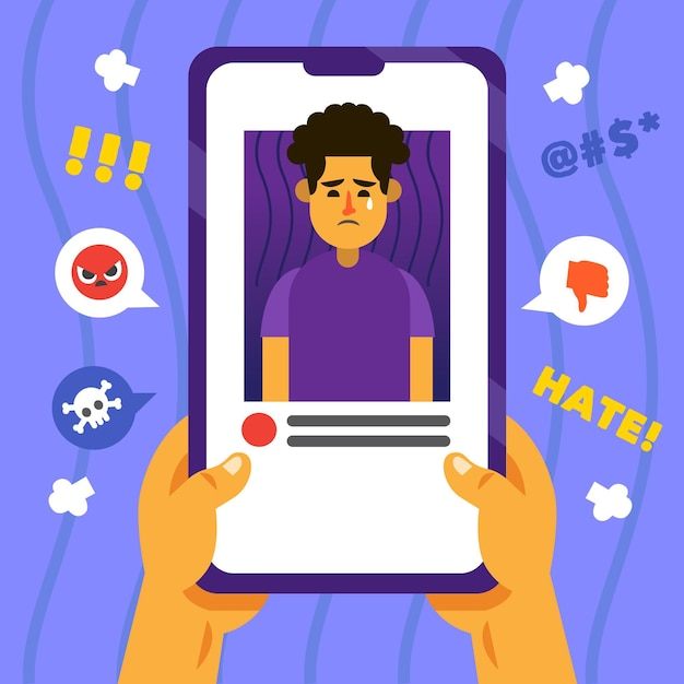Cyber bullying mobile phone interface Free Vector