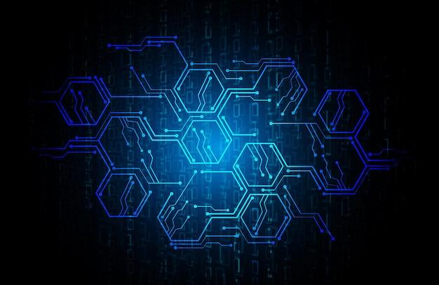 사이버 회로 미래 기술 배경 프리미엄 벡터