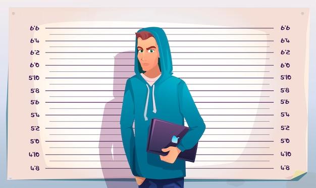 Cyber crime, hacker mugshot. it criminal teenager Free Vector