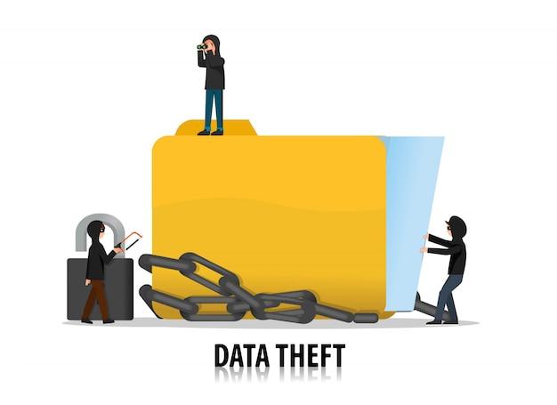 サイバー犯罪者は保護されたデータを盗もうとします Premiumベクター