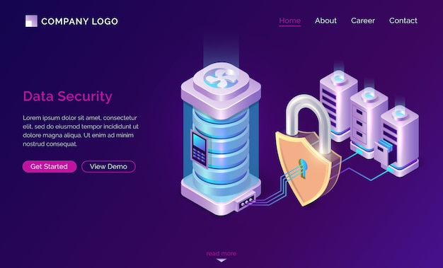 Cyber data security isometric landing page banner Free Vector