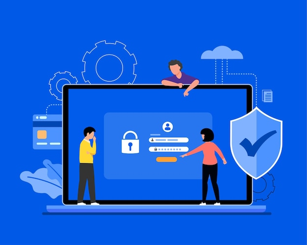 Cyber data security online concept illustration, internet security or information privacy & protection. Free Vector