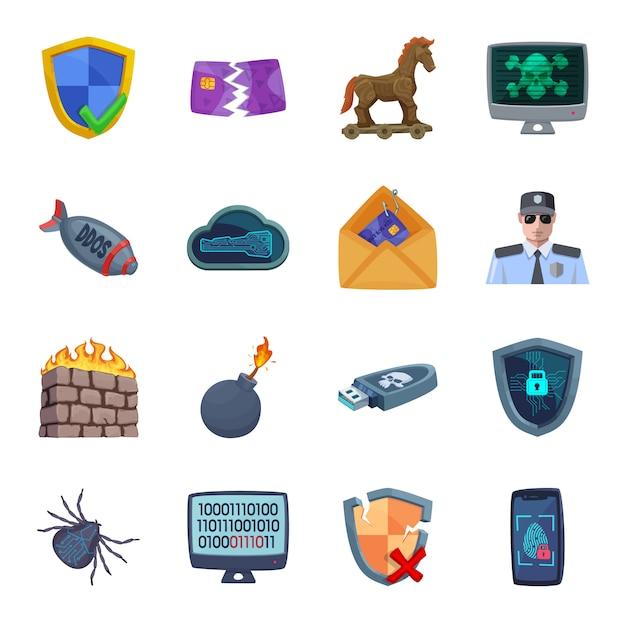 Cyber defense cartoon icon set, cyber security. Premium Vector