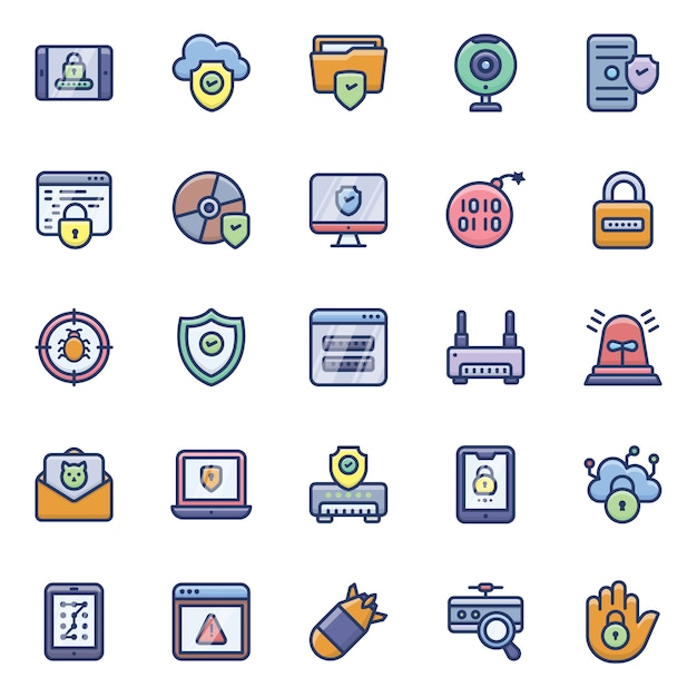 Cyber hacking icons pack Premium Vector