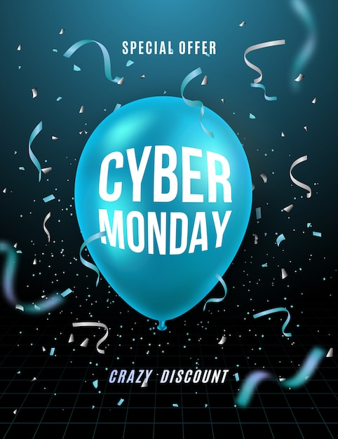 Cyber monday 3d background. Premium Vector