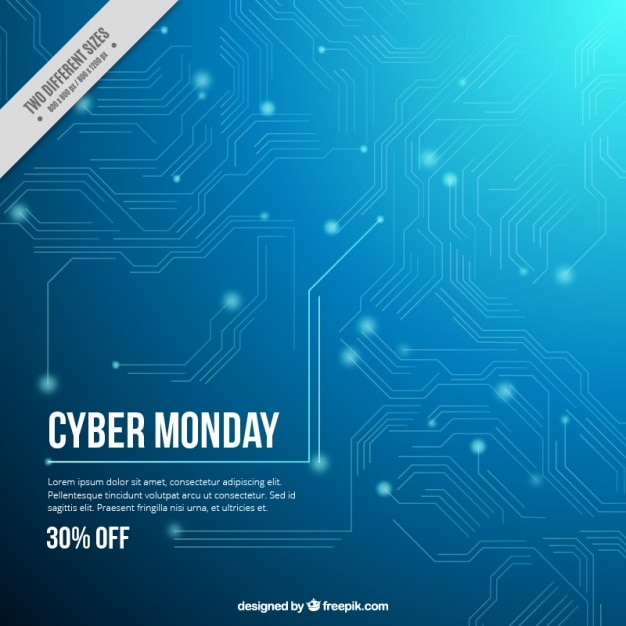 Cyber monday abstract circuit Free Vector