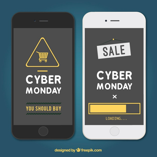 Cyber monday app Free Vector