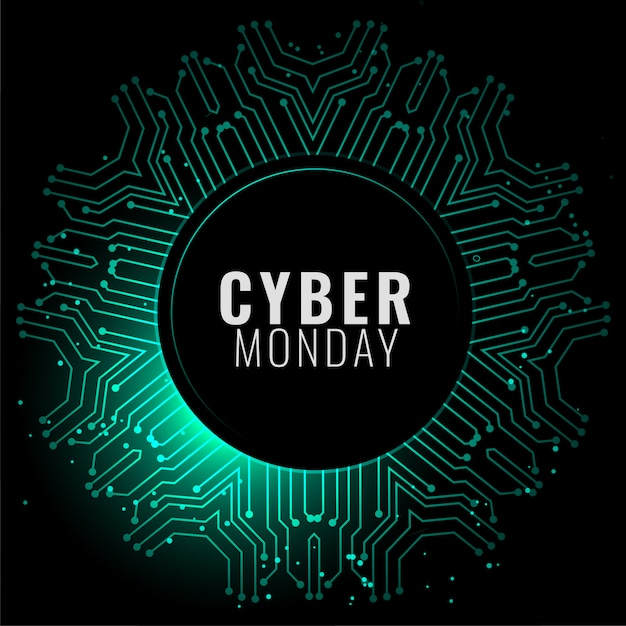 Cyber monday banner in digital style banner Free Vector