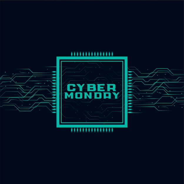 Cyber monday banner in futuristic style design Free Vector