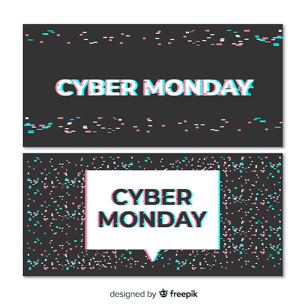 Cyber monday banner set with glitch effect Free Vector