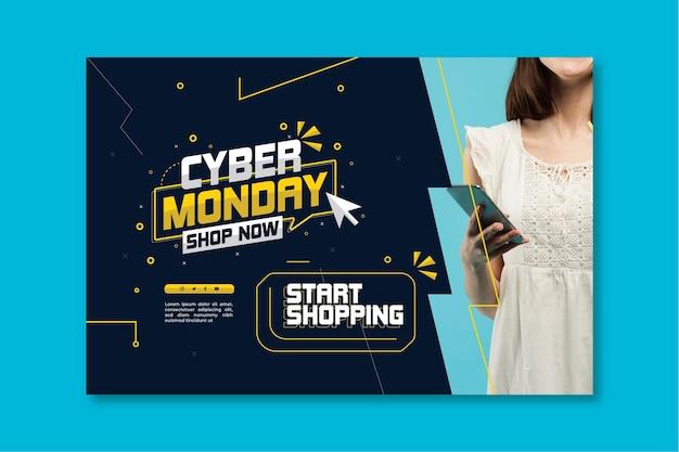Cyber monday banner template Premium Vector