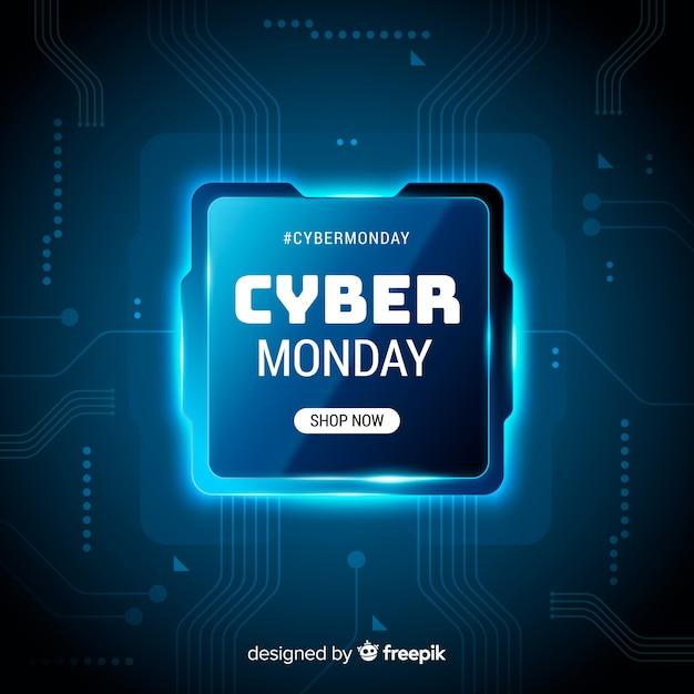 Реалистичные технологии cyber monday banner Бесплатные векторы