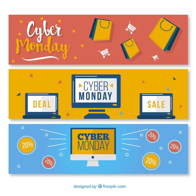 Cyber monday banners pack Premium Vector