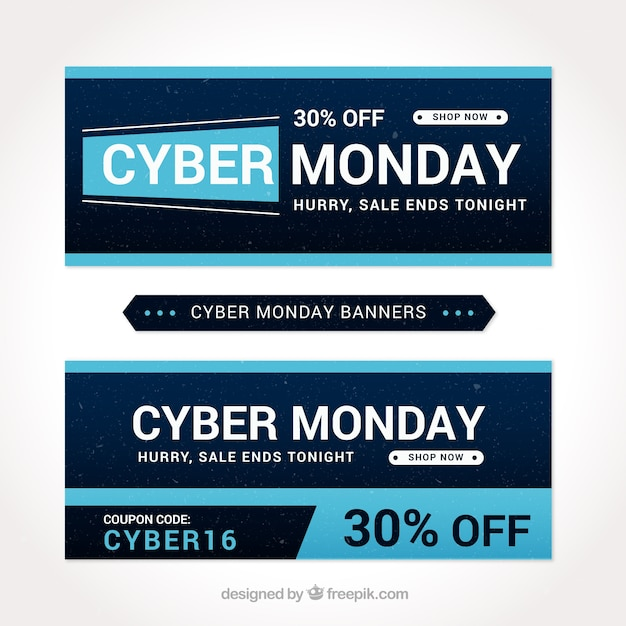 Cyber monday banners with blue details Free Vector