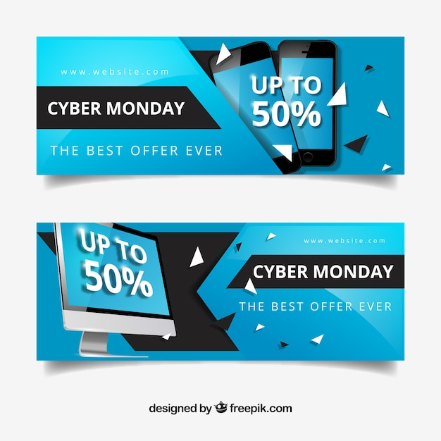 Cyber monday banners with discounts