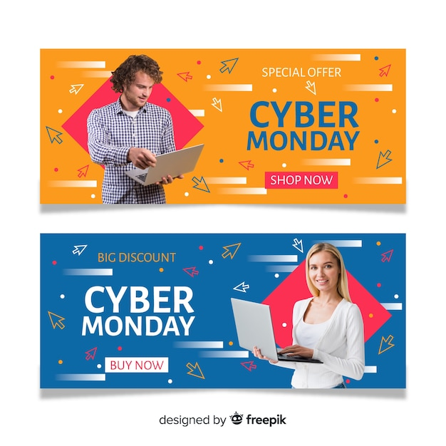 Cyber monday banners with photo in flat design Free Vector
