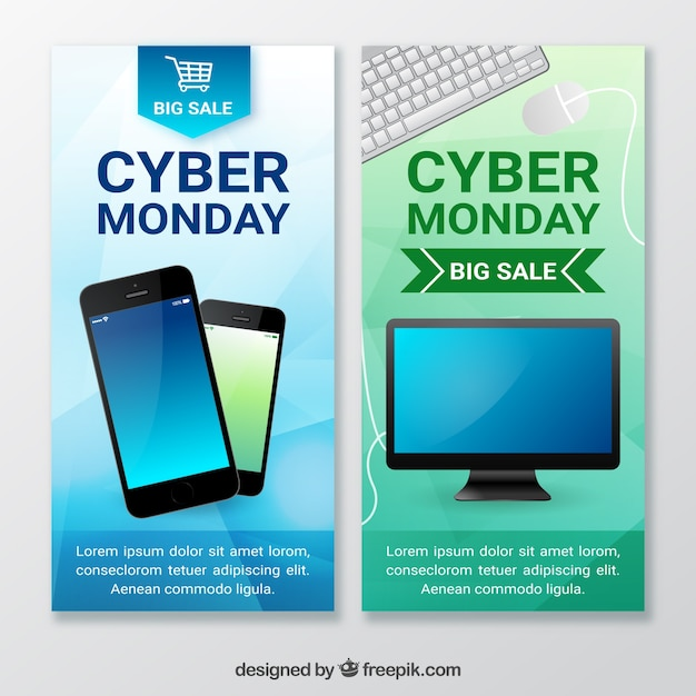 Cyber monday banners with realistic products