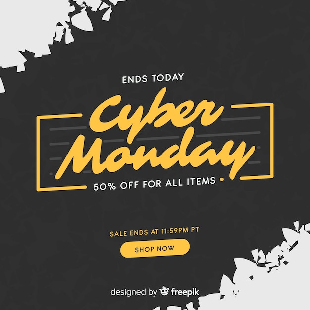 Cyber monday composition with flat design Free Vector